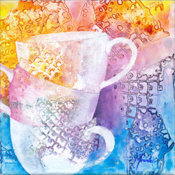 painting of stacked teacups