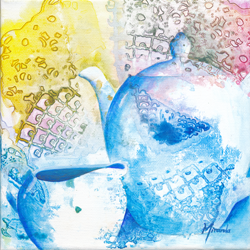 painting of kettle and teacups