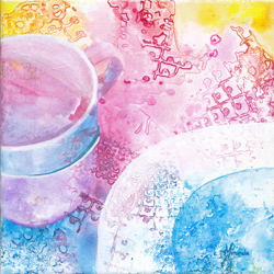 painting of plate and teacups