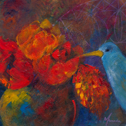 painting of flowers and bird