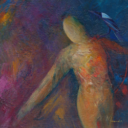 painting of figure and crow